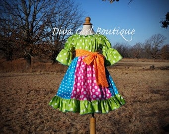 Girls Boutique Clothing - Birthday Dress - Pageant Dress - Circus Dress - Outfit of Choice - Girls Birthday Party - Boutique Hairbow