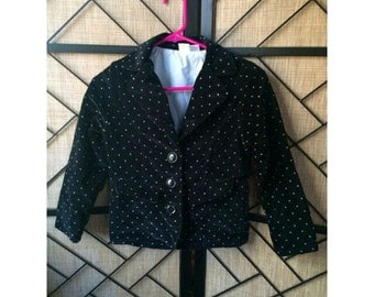 Black velvet shrunken polka dot blazer women's xs