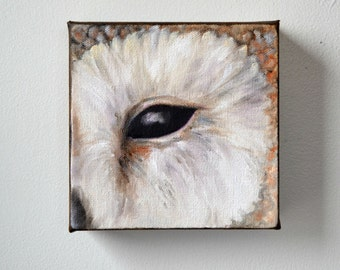 Wildlife art, original oil on canvas, owl painting, Barn Owl, wall art, home decor - Eye See You series thirteen