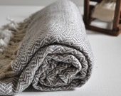Vermicelli Pattern Turkish Towel Peshtemal towel in ivory Light Grey color Cotton Woven pure soft