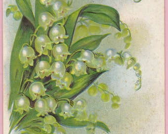 "Ca 1910 ""Lily of the Valley"" Friendship Greeting Postcard - 162"
