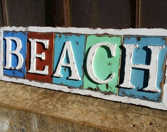 "Weathered ""BEACH"" Sign"