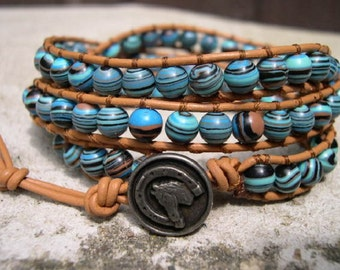 Triple Wrap Bracelet, Beaded Wrap Bracelet, Jewelry, Bracelets, Beaded Bracelets, Boho, Striped Turkey Turquoise - 691