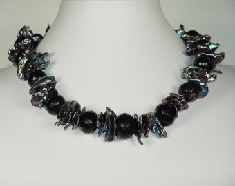 To Die For  Large keishi Pearl and Onyx Necklace