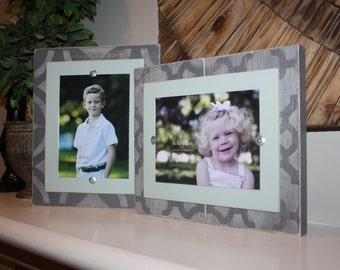 Distressed Picture Frames, 5x7 Frames, Unique Frames, Wedding Gift, Set of Two Frames, Wall Gallery