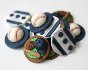 Fondant baseball cupcake toppers.  Sports fondant toppers.  Baseball fondants. Baseball cake.  Edible baseball.