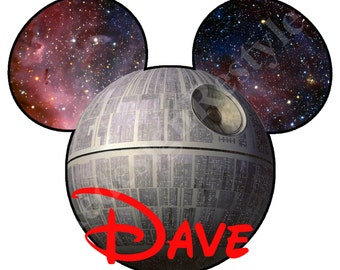 Star Wars Death Star Mickey Mouse Personalized Iron-On Digital File