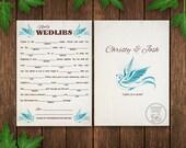 Wedlibs, Blue Bird Wedding Madlib Card, Printable Wedding Madlib, Guest Book Alternative, Reception Game, Welcome Bag Stuffer, Wedding Favor