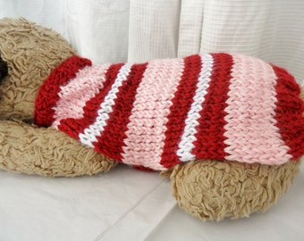Pink dog sweater, red dog sweater, striped dog sweater