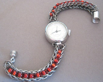 Tick Tock Chainmaille Wristwatch Red Czech Glass Bead