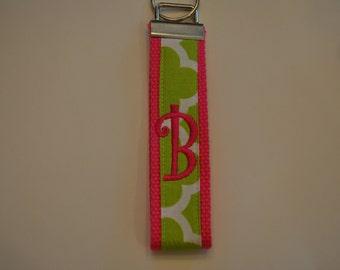 Geometric Monogrammed KeyFob Keychain Wristlet Hot Pink webbing/green and white geometric fabric