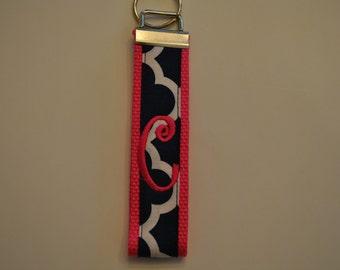 Geometric Monogrammed KeyFob Keychain Wristlet - Hot Pink webbing/Navy and white geometric fabric