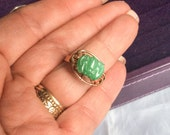 CHRISTMAS Holiday Sale, Jade Ring, Bat Ring, Apple Green, 14K Gold, Chinese Vintage Jewelry, Gift for Her