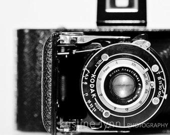 old camera print, 5x5 print, fine art print, black and white image, art,vintage, home decor, wall art, black and white print