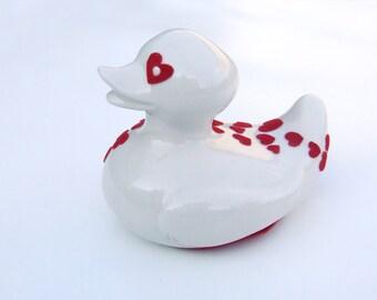 Christmas ceramic duck red velvet hearts decor