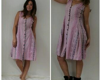 Handmade BOHO Pink Dress, Floral Print, Corset Back