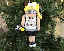 Handcrafted Polymer Clay Girl Lacrosse Player Ornament