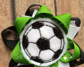 Embroidered Soccer Felt Centered Loopy Hairbow