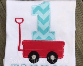 Personalized Appliqued/Embroidered First Birthday Wagon shirt