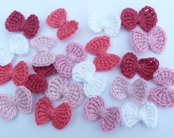 Crochet bows, Crochet appliques, 20  small applique bows, cardmaking, scrapbooking, appliques, craft embellishments and sewing accessories.