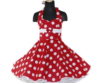 Girls 50's dress for petticoat custom made in red with large white dots