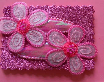 Hair Accessories - Handmade -  2  Iridescent Pink Covered Snap Clips - Embellished With a Pink Embroidered Flower