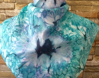 Handmade square silk scarf, ready to ship from Montreal, in turqoise and purple colors