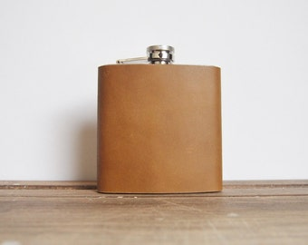 Mustard Leather Flask, Custom, limited edition, genuine leather, personalized leather flask
