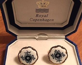 Vintage Swank Royal Copenhagen Blue Porcelain Floral Cufflinks