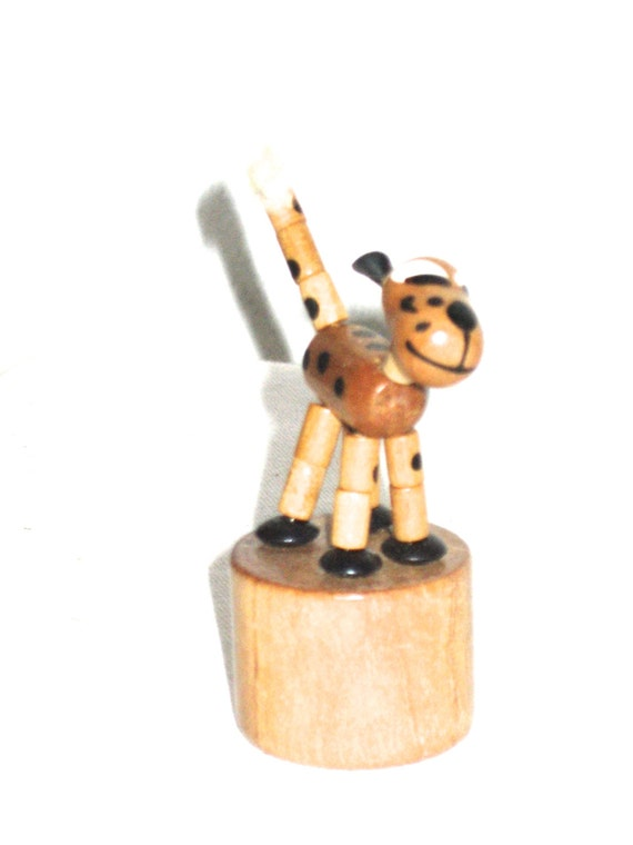 Old Toys From The 70s : Vintage fomlet wood push up toy dog from italy s era toys