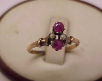 Antique Victorian 12K Gold Antique  Genuine Rubies & Pearl Ring, 1800s