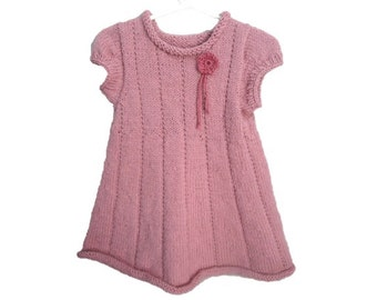 Pink Knit Dress, Baby Girl 1 - 2, Short Sleeve Sweater Dress, Holiday Dress, Mauve Pink, 18 24 Months