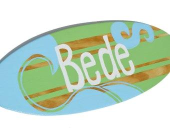 Family Signs, Surf Board Wall Art, Surfing Sign Beach Nursery Decor, Beach Themed Decor, Last Name Sign, Family Name Sign Wood, Name Signs