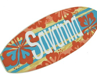Personalized Surfboard Sign, Small Decorative Surfboard Wall Decor, Surfer Girl Bedroom Decor, Surf Girl Decor, Baby Surf Girl Decor