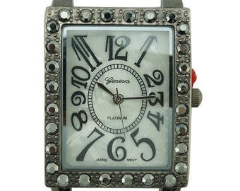 Geneva Rectangle Marcasite Solid Bar Watch Face 26 x 32 mm