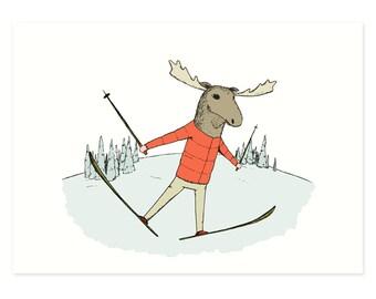 Skiing Moose Print, Moose Illustration, Skiing Print, Winter, Snow Art, Outdoors Activity, Ski Art, Skiing Illustration by Hello Small World