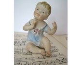 Antique Bisque Baby Boy Piano Baby Figurine Hand Painted Delicate Features