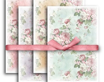 Digital Images - Digital Collage Sheet Download - Shabby Chic Roses Papers -  1131  - Digital Paper - Instant Download Printables