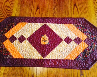 Quilted Table Runner Chocolate Brown Fall Colors Jack O Lantern Applique