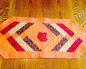 Quilted Table Runner Orange Fall Colors Leaf Applique