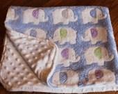 Baby Blanket Minky- Blue Elephants with Pastel ears- Handmade