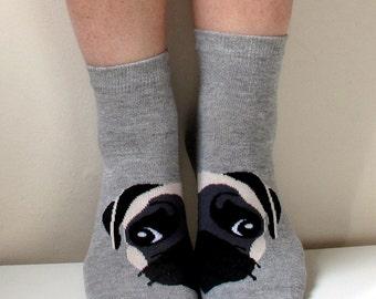 Boot Socks Women Socks Leg Warmer Pug Socks Christmas Socks Funny Socks Animal Socks Dog Socks Ladies Casual Cotton Socks Ankle Socks