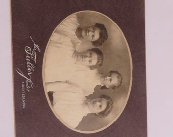 Antique Victorian Photograph Card Four Sisters