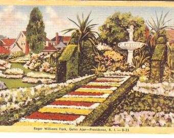 Vintage Linen Postcard...Roger Williams Park, Gates Ajar-Providence, RI...Used..no. 1830