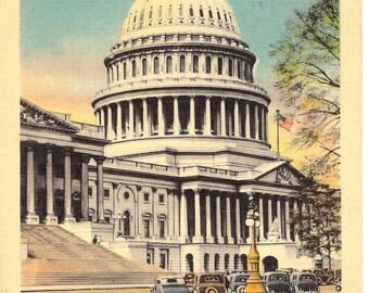 Vintage Linen Postcard.....U.S. Capitol Dome, Washington, D.C.....Used, 1940.....no. 2530
