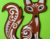 Large Embroidered Flourished Fox Applique Patch, Iron On or Sew On, Red Fox, Children's Applique, Home Decor, Quilts, Wall Hangings, Xmas