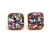 Rainbow glitter studs mom wife wood stud earrings recycled girlfriend gift Rainbow glitter square studs stud earrings glitter earrings