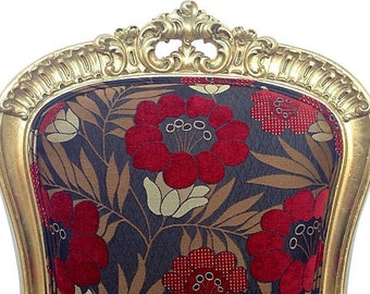 Vintage Gold Leaf Gilded Slipper Chair Accent Carved Custom Antique Floral Upholstery Red Black Classy Traditional Modern Chic Style Decor