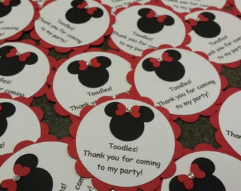 Personalized Mickey Mouse and Minnie Mouse party favor / thank you tags - set of 10