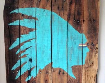Native American Headdress Painted on Reclaimed Wood